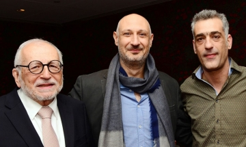 Hellenic Film Society Director Jimmy DeMetro   with directors Marios Piperides (Smuggling Hendrix) and Nikos Labot (Her Job)