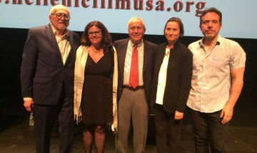 Hellenic Film Society USA's director Jimmy DeMetro;  Last Song to Xenitia's director and producer Athena Scotes;  her father, Ambassador Thomas J. Scotes;  the film's editor and producer Konstantia Kontaxis;  and producer Tony Manolikakis. Photo by Eleni Sakellis