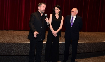 Actors Spiros Papadopoulous and Nikoleta Kotsailidou at 2018 NY Greek Film Expo opening night.