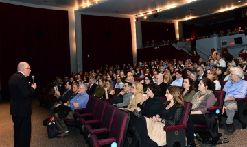 HFS President Jimmy DeMetro welcomes a sold-out audience to the 2018 NY Greek Film Expo.