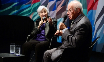 Oscar-winning actor Olympia Dukakis and film historian Foster Hirsch during a Q&A.