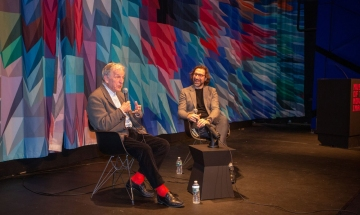 Oscar-winning director Costa-Gavras and Museum of the Moving Image curator, Eric Hynes.
