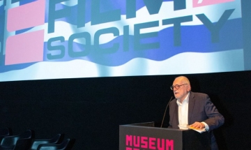 HFS President Jimmy DeMetro introduces a monthly film screening at the Museum of the Moving Image (MoMI).