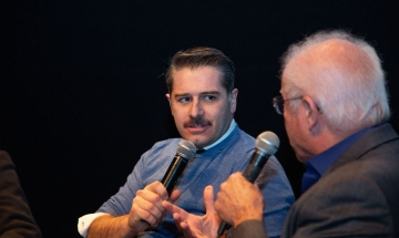 Actor Alexandros Bourdoumis <em>(Adults in the Room)</em> participates in an audience Q&A.
