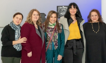 Board members Eva Mallis, Maria Miles, and Stavroula Toska, along with NYWIFT Executive Director Cynthia Lopez (far right) welcome Emmy Award-winning producer Celia Costas (center).