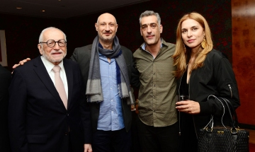 HFS President Jimmy DeMetro with directors Mario Piperides <em>(Smuggling Hendrix)</em> and Nikos Labot <em>(Her Job)</em> at the 2019 NY Greek Film Expo.